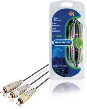 Bandridge Composite Video Cable 3x RCA Male - 3x RCA Male 2.00 m Blue, BVL5302