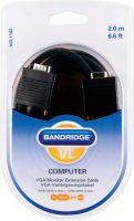 Video, Bandridge VGA Extension Cable VGA Male - VGA Female 2.00 m Black, VCL1102