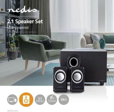 Nedis PC speaker | 2.1 | 33 W | 3.5mm Jack, CSPR10021BK
