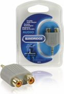 Bandridge, Bandridge Stereo Audio Adapter 3.5 mm Han - 2x RCA Hun Grå, BAP432