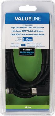 Valueline High Speed HDMI Cable with Ethernet HDMI Connector - HDMI Connector Angled Right 3.00 m Bl