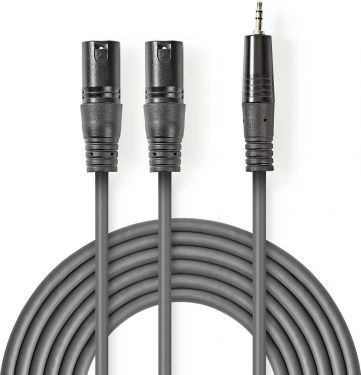 Nedis XLR Audio Cable | 2x XLR 3-Pin Male - 3.5 mm Male | 3.0 m | Grey, COTH15310GY30
