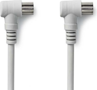 Nedis Coax Cable 90dB   IEC (Coax) Male Angled - IEC (Coax) Female Angled   2.0 m   White, CSGP40100