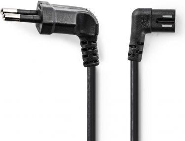 Nedis Strømkabel | Euro-stik, vinklet – IEC-320-C7 venstre/højre | 5,0 m | Sort, PCGP11055BK50