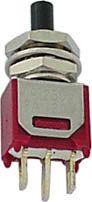 Miniature trykkontakt ON-(ON), m. gevind