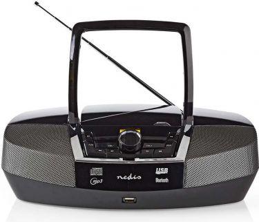 Nedis Boombox   12 W   Bluetooth®   CD-afspiller/FM-radio/USB/AUX   Sort, SPBB200BK