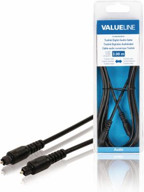 Valueline Digital Audio Cable TosLink Male - TosLink Male 3.00 m Black, VLAB25000B30