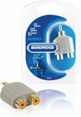 Bandridge Stereo Audio Adapter RCA Han - 2x RCA Hun Grå, BAP124