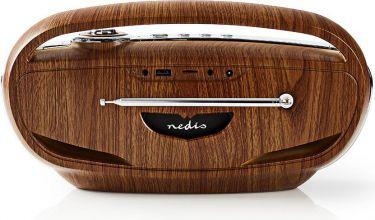Nedis UKW-radio | 60 W | Bluetooth® | Brun/sølv, RDFM5310BN