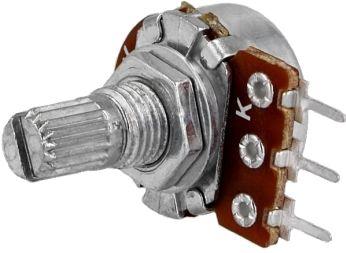 Potmeter 1 kOhm mono liniær, 6mm rillet metalaksel