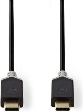 Nedis USB 2.0-kabel   Type-C-hanstik - Type-C-hanstik   1,0 m   Antracit, CCBW60700AT10