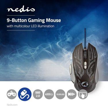 Nedis Gaming Mus | Ledningsforbundet | Belyst | 4000 DPI | 9 knapper, GMWD400BK