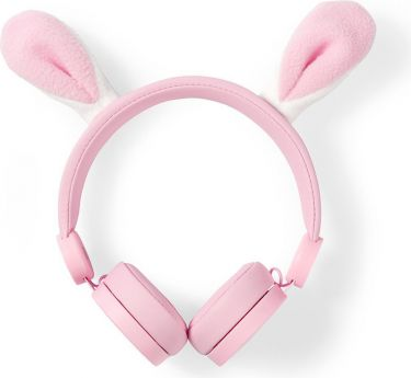 Nedis Wired Headphones | 1.2 m Round Cable | On-Ear | Detachable Magnetic Ears | Robby Rabbit | Pink