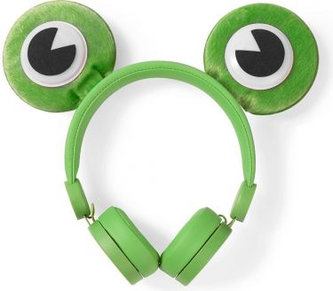 Nedis Wired Headphones | 1.2 m Round Cable | On-Ear | Detachable Magnetic Ears | Freddy Frog | Green