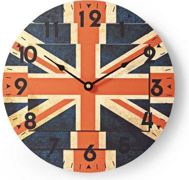 Nedis Circular Wall Clock | 30 cm Diameter | Union Jack Image, CLWA007WD30UF