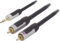 Profigold Stereo Audio Kabel 3.5 mm Han - 2x RCA Han 3.00 m Antracit, PROA3403