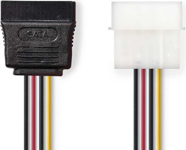 Nedis Internal Power Cable | Molex Male - SATA 15-pin Female | 0.15 m | Various, CCGP73500VA015