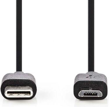 Nedis USB 2.0-kabel | Type-C-hanstik | mikro B-hanstik | 1,0 m | Sort, CCGP60750BK10