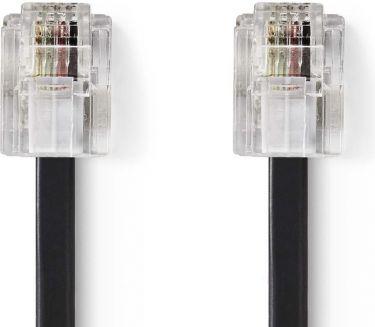 Nedis Telekommunikationskabel | RJ11-hanstik – RJ11-hunstik | 10,0 m | Sort, TCGP90200BK100