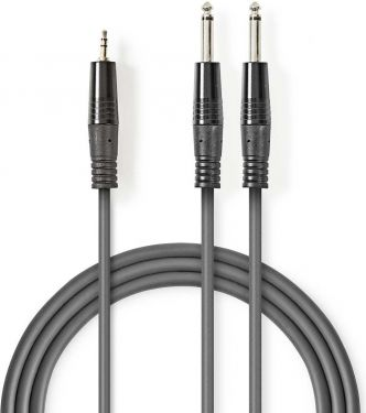 Nedis Stereo Audio Cable | 2x 6.35 mm Male - 3.5 mm Male | 5.0 m | Grey, COTH23200GY50