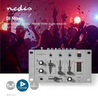 Nedis DJ-mixer | 3 stereokanaler | Crossfader | Talkover-funktion, MIXD050GY