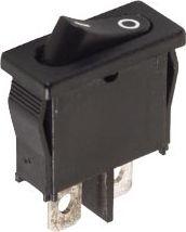 Vippekontakt 1P ON-OFF, 6A-250V, Sort (19x5,6mm hul)