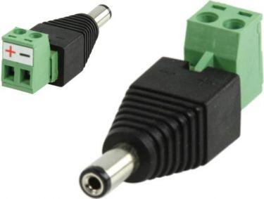 DC stik m. skrueterminaler 5,5 x 2,5mm han (1 stk.)