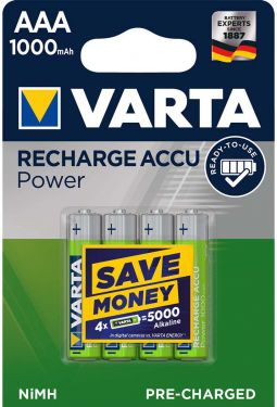 Varta Rechargeable NiMH Battery AAA 1.2 V 1000 mAh 4-Blister, 5.703.301.404