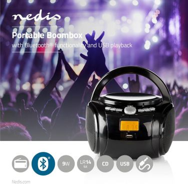 Nedis Boombox | 9 W | Bluetooth® | CD Player / FM Radio / USB / Aux | Black, SPBB100BK