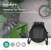 Nedis Ceramic Fan Heater Industrial Design | Thermostat | 3 Settings | 3000 W | Yellow, HTIF30FYW