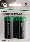 Ni-Mh, HQ Genopladeligt Nimh Batteri D 1.2 V 4000 mAh 2-Bobler, HQHR20-4000/2B