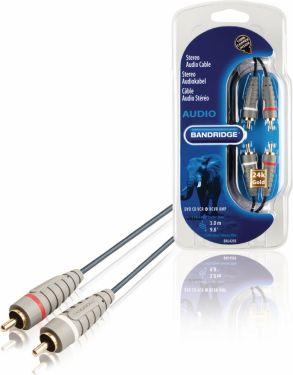 Bandridge Stereo Audio Cable 2x RCA Male - 2x RCA Male 3.00 m Blue, BAL4203