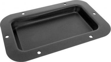 Højttaler terminalplade, sort metal, 89 x 136mm, 0 huller