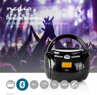 Nedis Boombox | 9 W | Bluetooth® | CD Player / FM Radio / USB / Aux | Black, SPBB100BK