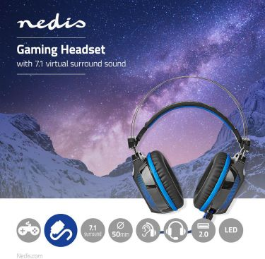 Nedis Gaming Headset | Over-ear | 7.1 Virtual Surround | LED Light | USB Connector, GHST500BK