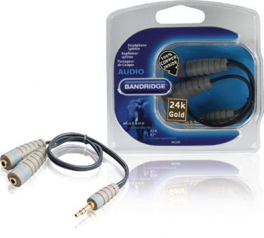 Bandridge Stereo Audio Kabel 3.5 mm Han - 2x 3.5 mm Hun 0.20 m Blå, BAL3200