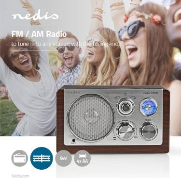 Nedis UKW-radio   9 W   Analog indstilling   Retro-design   Brun, RDFM5100BN