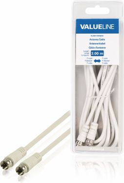 Valueline Antenna Cable F-Male - F-Male 3.00 m White, VLSB41000W30