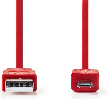Nedis USB 2.0 Cable | A Male - Micro B Male | 1.0 m | Red, CCGP60410RD10
