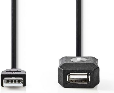 Nedis Aktivt USB 2.0-forlængerkabel | A-hanstik | A-hunstik | 25 m | Sort, CCGP60EXTBK250