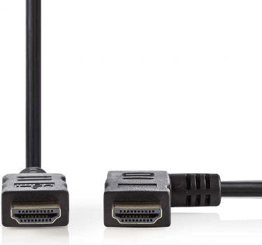 Nedis High Speed HDMI™-kabel med Ethernet | HDMI™-stik - HDMI™-stik, retvinklet | 1,5 m | Sort, CVGP