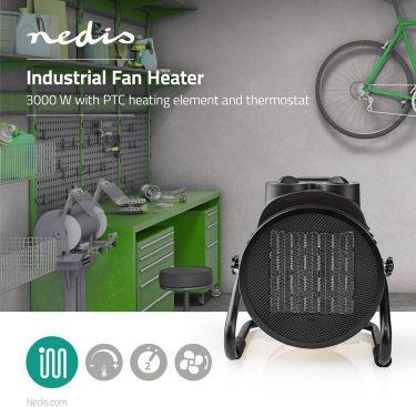 Nedis Keramisk varmeblæser med industrielt design | Termostat | 3 indstillinger | 3000 W | Gul, HTIF
