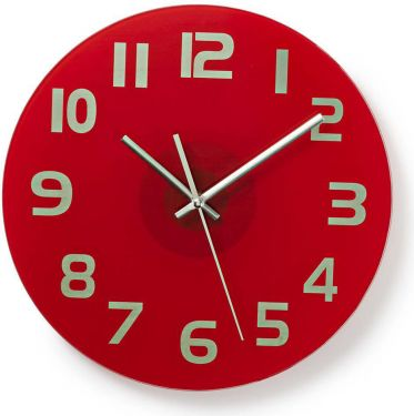 Nedis Circular Wall Clock | 30 cm Diameter | Easy To Read Numbers | Bright Red, CLWA006GL30RD