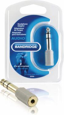 Bandridge Stereo Audio Adapter 6.35 mm Male - 3.5 mm Female Grey, BAP664