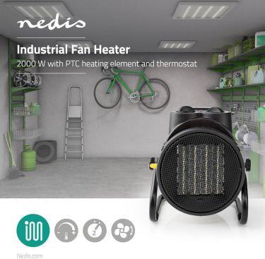 Nedis Ceramic Fan Heater Industrial Design | Thermostat | 3 Settings 2000 W | Yellow, HTIF20FYW