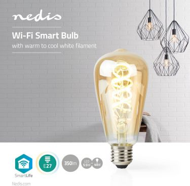 Nedis Wi-Fi Warm to Cool White LED Filament Bulb | Twisted | E27 | ST64 | 5.5 W | 350 lm, WIFILT10GD