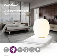 Nedis LED-natlampe med touchkontrol | Trådløs Qi-oplader til smartphone | 10 W, LTLQ10W1WT