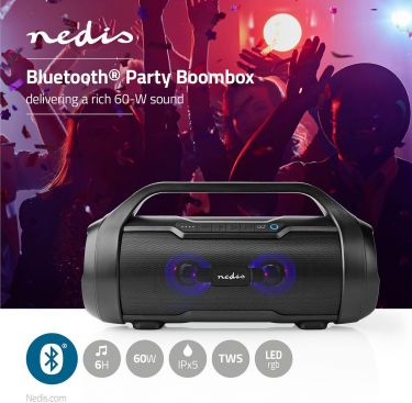 Nedis Party Boombox | 9 Hours Playtime | Bluetooth® | TWS | Party Lights | Black, SPBB310BK
