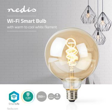 Nedis Wi-Fi Warm to Cool White LED Filament Bulb | Twisted | E27 | G125 | 5.5 W | 350 lm, WIFILT10GD