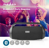 Nedis Party-boombox | 12 timers spilletid | Bluetooth® | TWS | Bærehåndtag | Sort, SPBB320BK